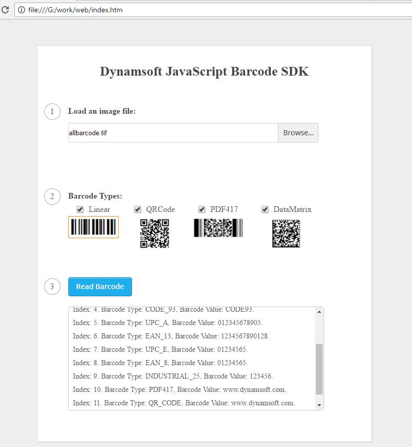 JavaScript barcode reader