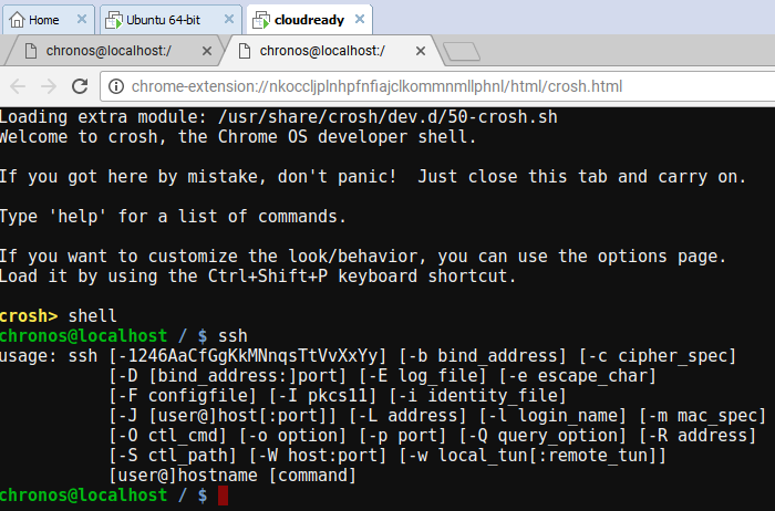 SSH on Chrome OS