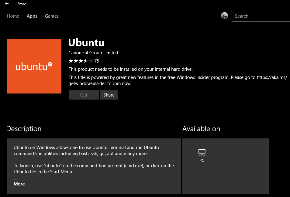 Ubuntu on Windows