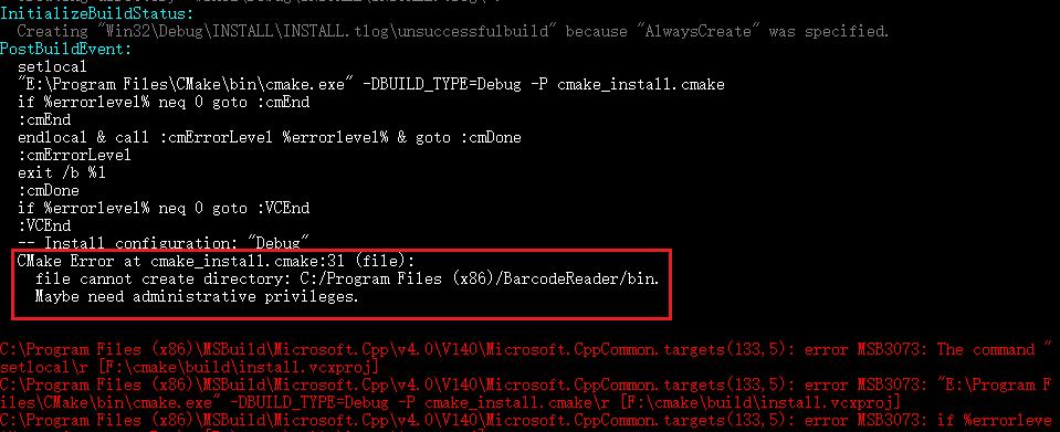 cmake install error