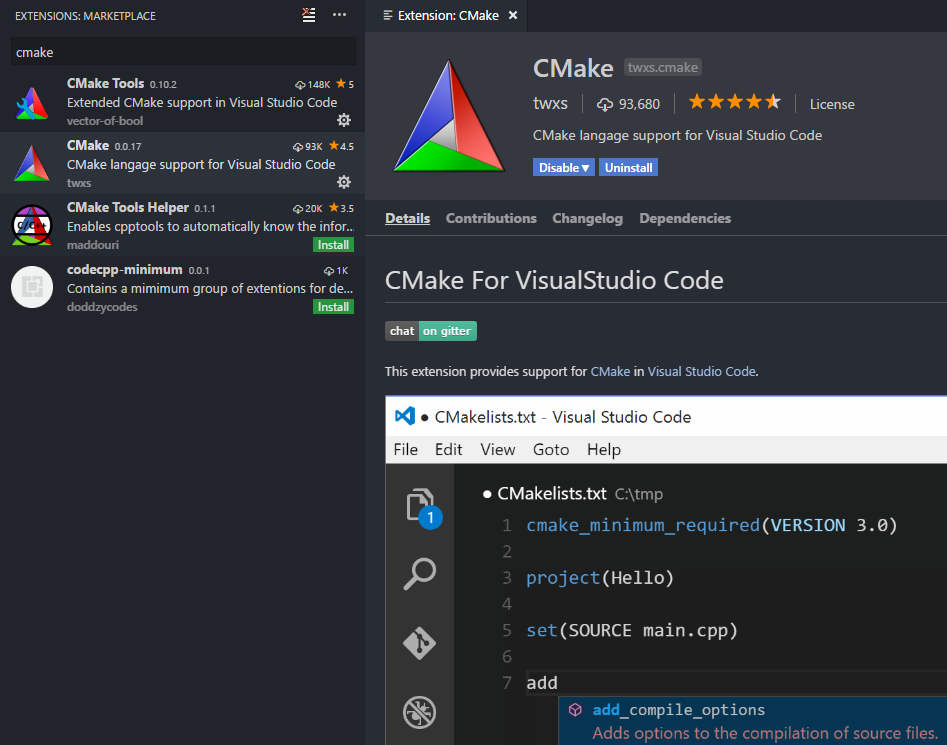 cmake vscode extension