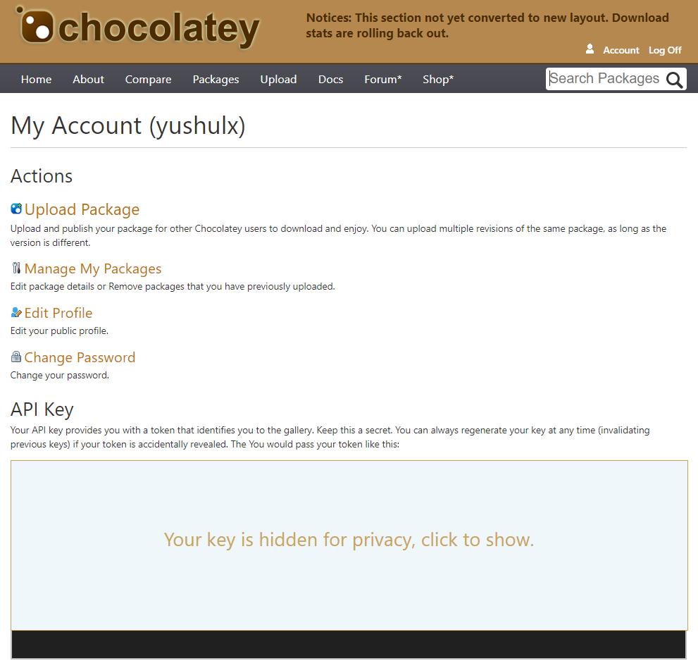 chocolatey account