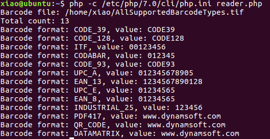 PHP barcode reader