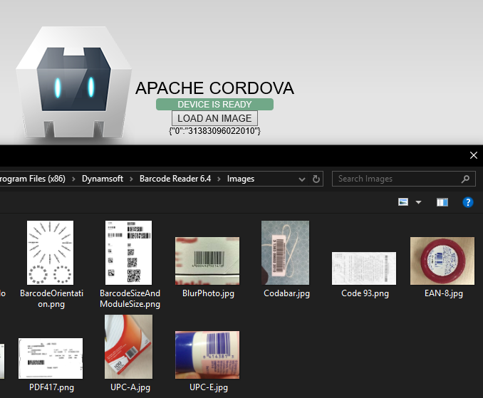 cordova windows barcode reader