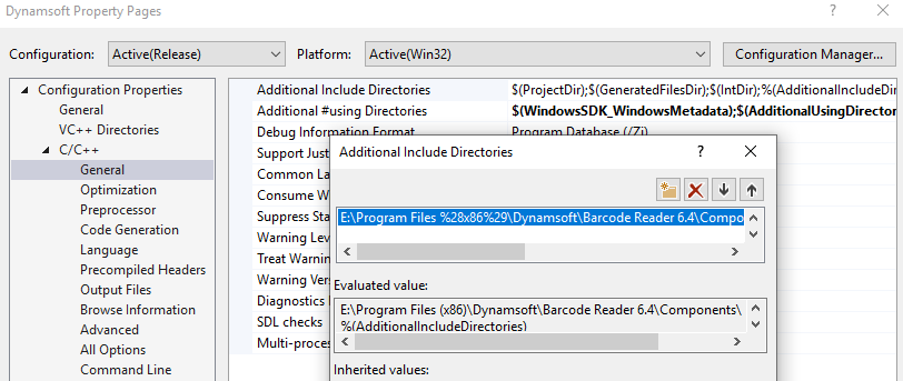 dynamsoft barcode reader header files