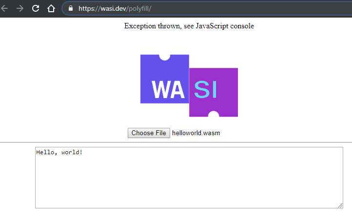 wasi polyfill web browser