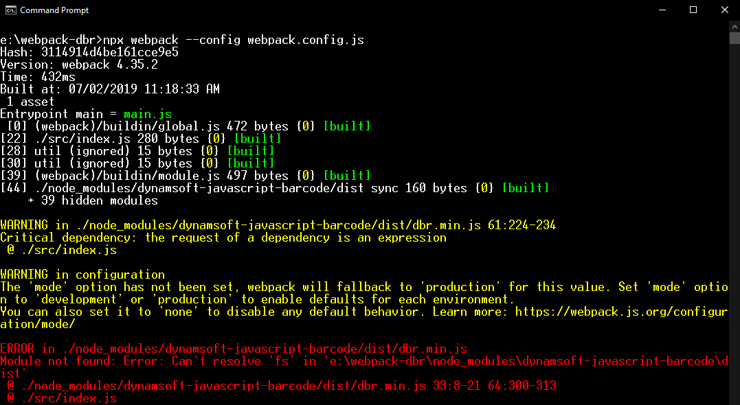webpack javascript barcode error