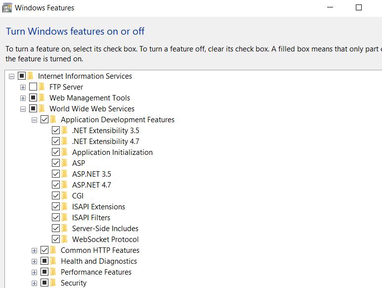 Windows IIS feature