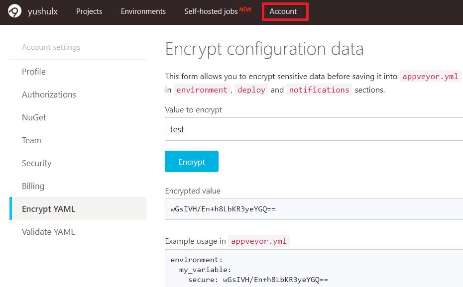 appveyor encrypt yaml
