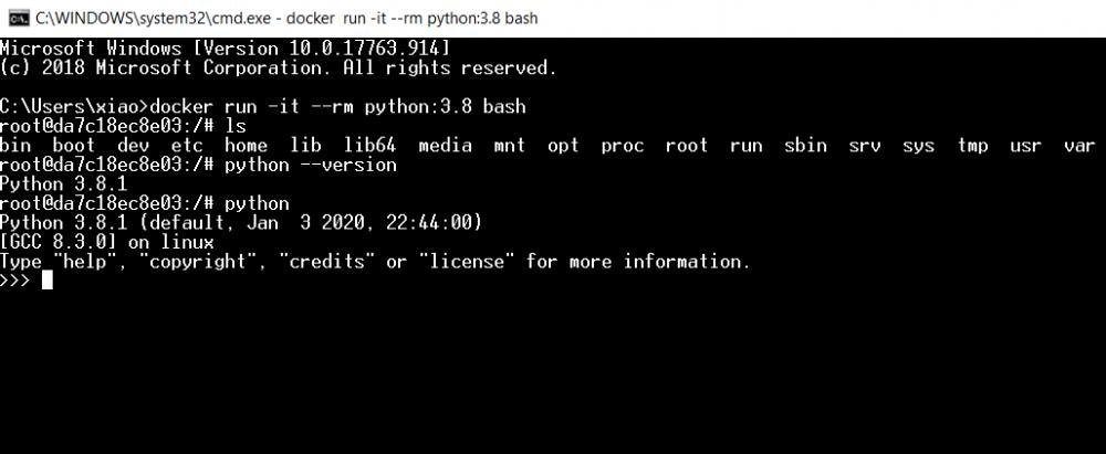 docker python 3.8