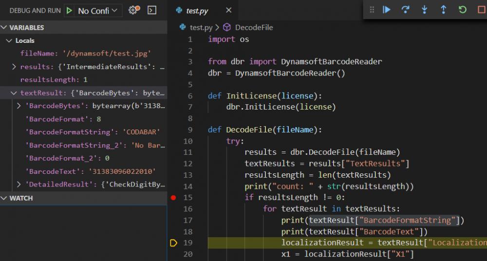 debugging Python code