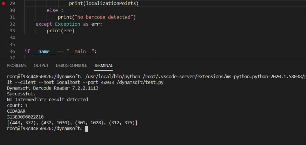 Python barcode result
