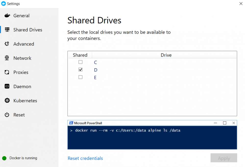 settings for shared drive