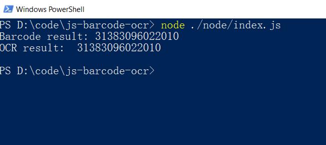JavaScript barcode OCR in Node.js