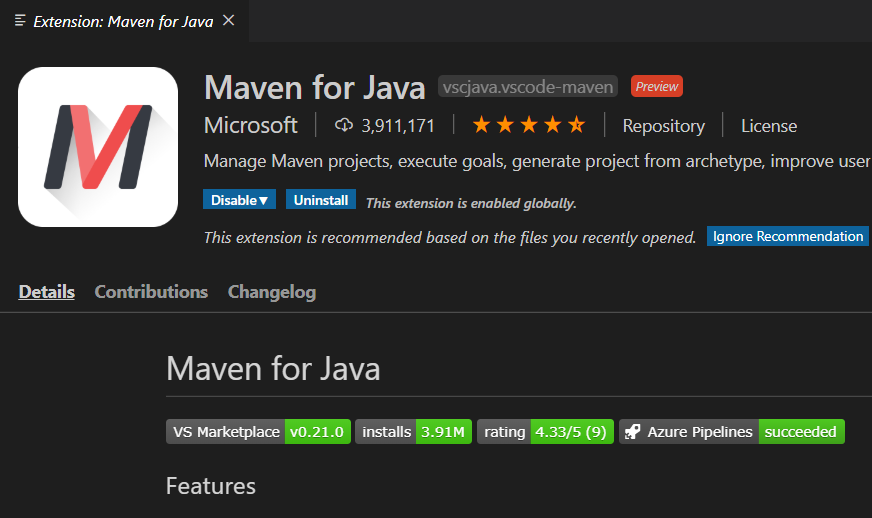 Maven extension for visual studio code