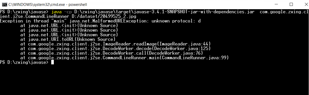 zxing command unknown protocol