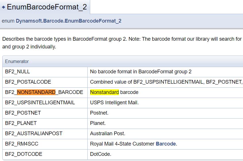 nonstandard barcode documentation