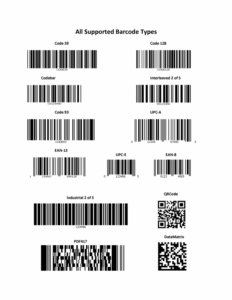 all barcode types