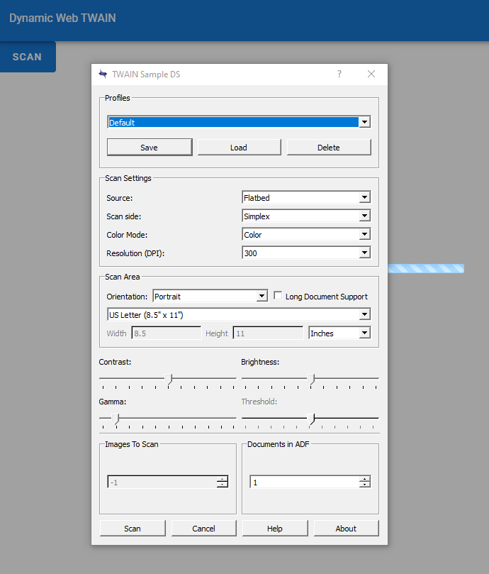 Functional WebTWAIN app:  scanner setting