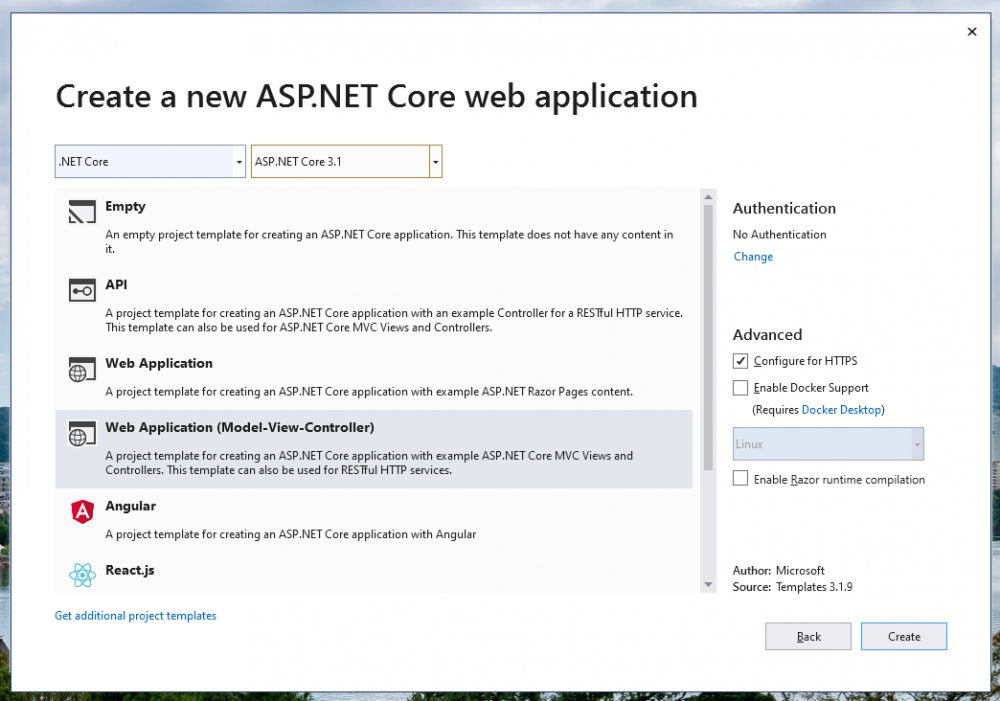 Initialize the ASP.NET Core web application with Model-View-Controller template