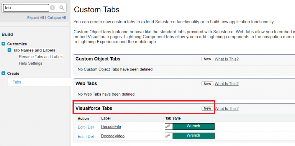 Salesforce custom tab