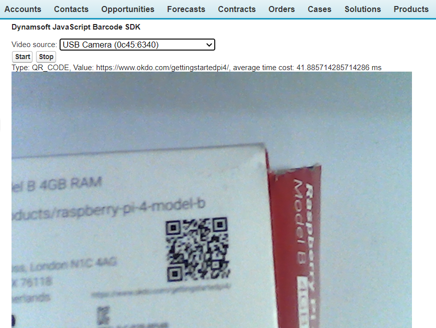 Decode barcode from camera video stream within Salesforce window