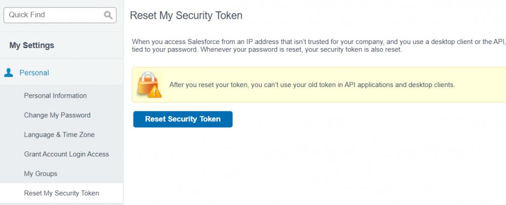 Salesforce security token