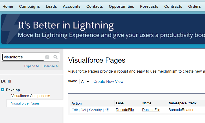 Visualforce page online