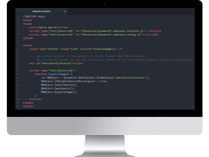 TWAIN scanning HTML5 SDK optimized for Web applications on Windows and Mac easy Screen Shot
