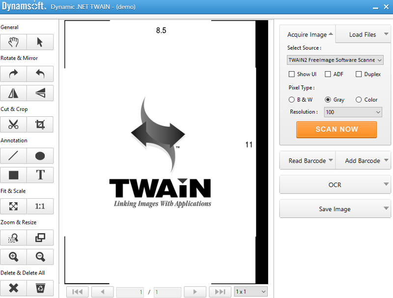 TWAIN component based on .NET Framework 2.0, optimized for use in C# and VB .NET