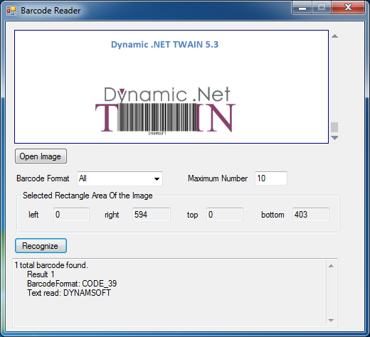 Dynamic .NET TWAIN Barcode Demo
