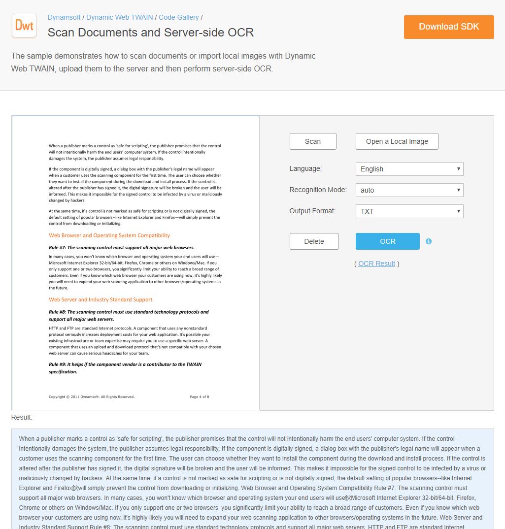 TWAIN Scanning in ASP NET, PHP App | Dynamic Web TWAIN Samples