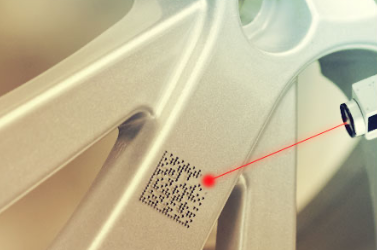 Etched barcodes have the same color as the surface they're on